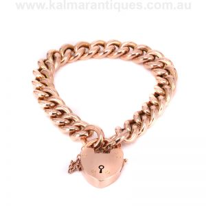 Antique 15 carat gold padlock bracelet made in the early 1900's