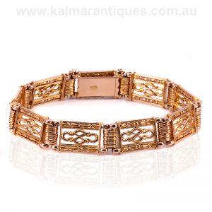 15ct rose gold gate bracelet from the Edwardian era