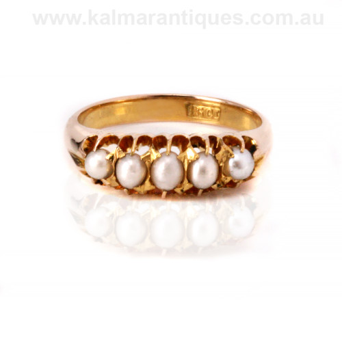 15ct gold antique pearl ring