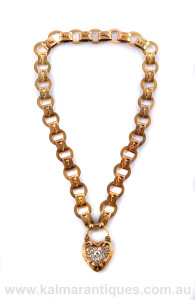 18ct gold antique diamond collar with locket