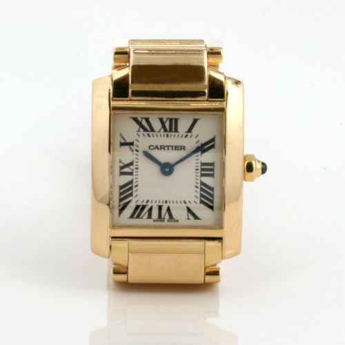 18ct yellow gold Cartier Tank Francais watch.