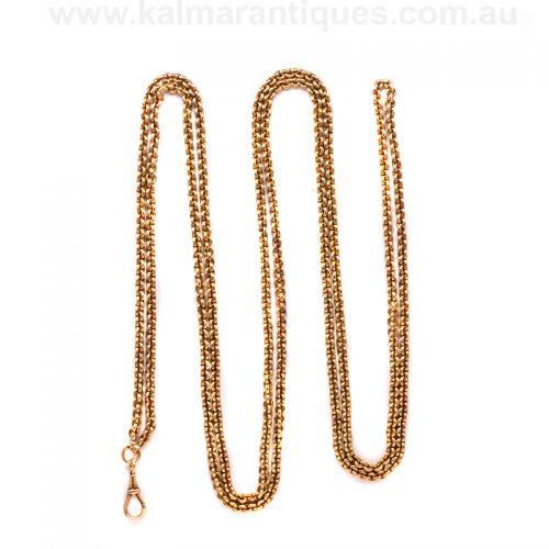 rare 18ct yellow gold Victorian era antique guard chain