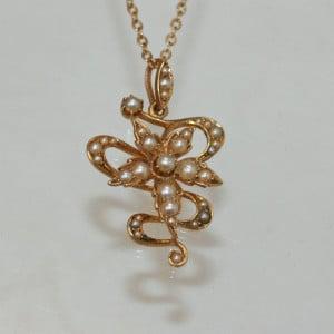 Art Nouveau pendant with assymetrical design