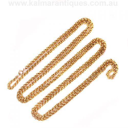 Rare 22 carat antique guard chain measuring 195cm in length