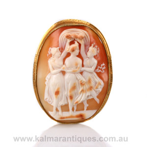 Antique 3 graces cameo