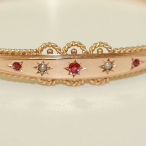 Victorian ruby and pearl bangle.