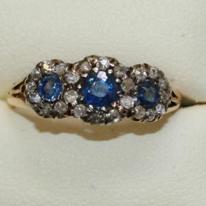 18ct  sapphire and diamond ring.