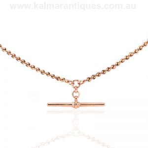 Antique rose gold curb link and facetted belcher link Albert chain