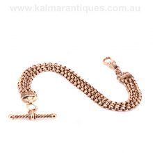 Ladies rose gold antique Albertina dating from the 1890's