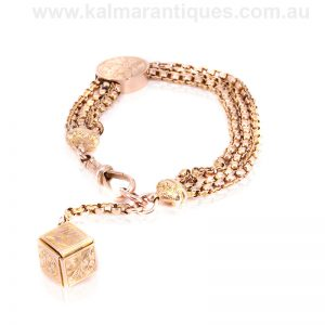 Antique rose gold Albertina from the late Victorian era