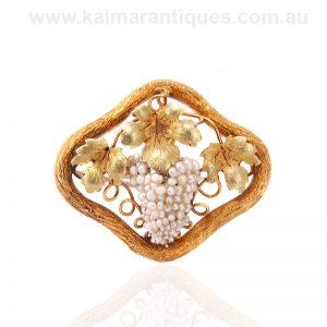 Early Australian gold and natural pearl brooch attributed to Alfred Lorking