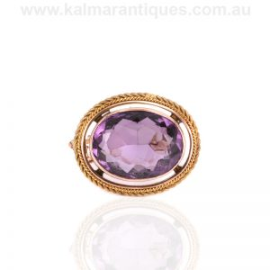 Antique rose gold amethyst brooch made in the 1890's