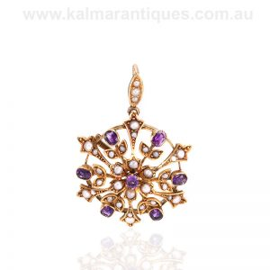 Antique amethyst and pearl pendant that converts to a brooch