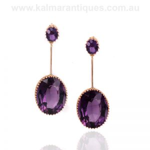 Large antique amethyst drop earrings made in the early 1900's