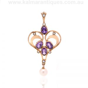 Antique amethyst and pearl pendant made in the early 1900's