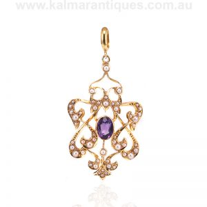 Antique amethyst and pearl pendant from the Victorian era