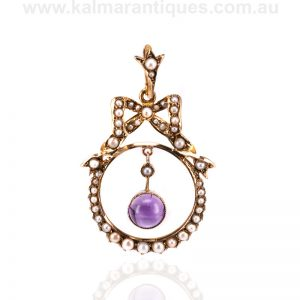 Antique amethyst and pearl pendant dating from the Edwardian era