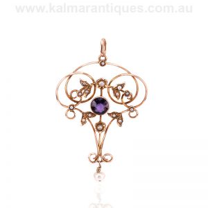 Edwardian era amethyst and seed pearl pendant