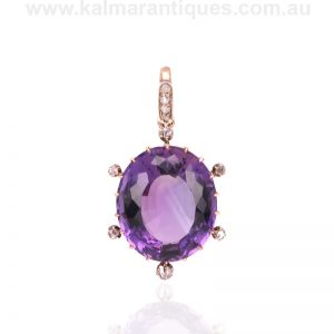 Antique amethyst and diamond pendant from the Victorian era