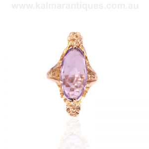 Beautiful antique 14 carat gold Art Nouveau amethyst ring