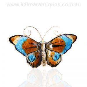 Very large vintage enamel butterfly by David Andersen