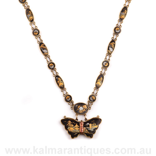 Antique Shakudo necklace