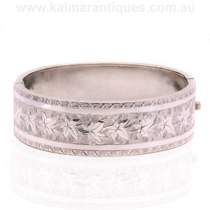 Sterling silver hand engraved bangle dating from the 1890's