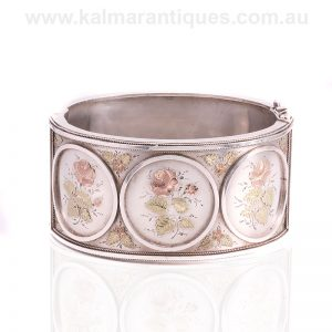 Wide silver, rose and green gold antique bangle made in the 1890's
