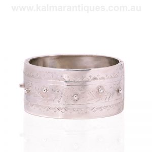Antique sterling silver buckle bangle made in 1893