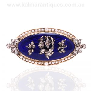 Antique Georgian enamel brooch set with diamonds and pearls