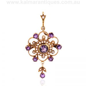 Victorian era antique amethyst and pearl pendant that converts to a brooch