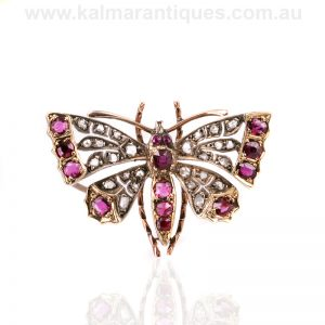 Victorian era antique ruby and diamond butterfly brooch