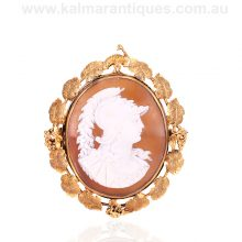 Rare early Australian antique cameo brooch of Athena