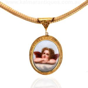 Antique locket with a cherub