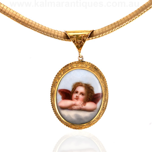 Antique locket with a cherub