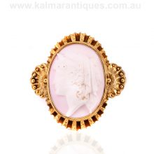 Victorian era 15ct gold antique pink conch shell cameo