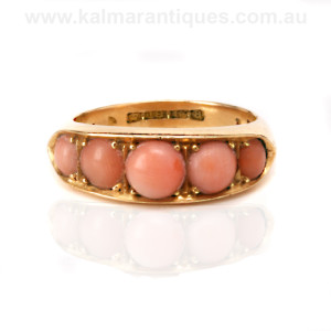 18ct gold antique coral ring