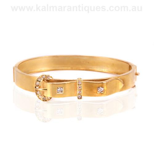 Antique diamond buckle bangle
