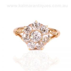 Antique 18ct gold cluster ring set with European cut diamonds