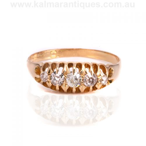 Antique diamond engagement ring set with European cut diamonds