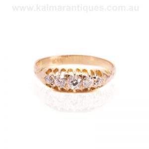 Antique five stone diamond engagement ring made in the 1890's