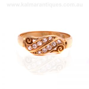 Antique 18ct yellow gold double row diamond swirl ring