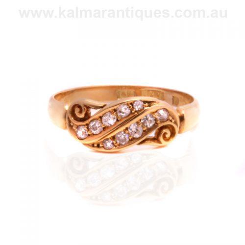 Antique 18ct yellow gold double row diamond swirl ring