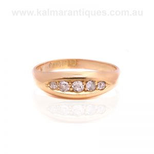 Antique ring set with European cut diamonds made in 1912