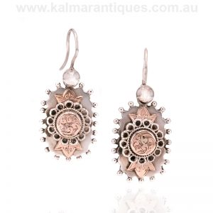 Antique sterling silver and rose gold earrings dating from the 1890's