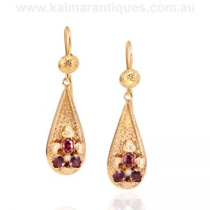 Antique rhodolite garnet and pearl earrings from the 19th century