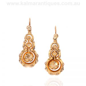 Magnificent antique gold cased earrings from the Victorian era