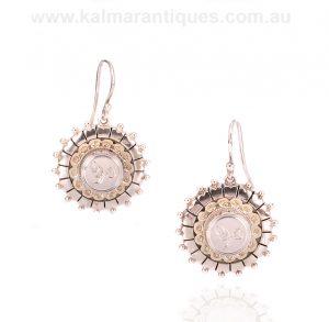 Victorian era antique sterling silver drop earrings
