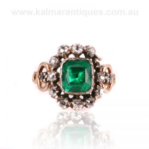 Antique emerald and diamond ring from the 1700's