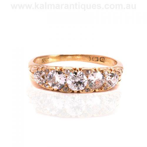 Edwardian era antique diamond engagement ring made in 1902